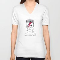 bowie V-neck T-shirts featuring Bowie by ☿ cactei ☿