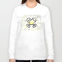 champagne Long Sleeve T-shirts featuring Champagne toast by Hanscom Park Studio