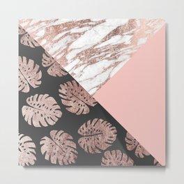 Blush Pink Rose Gold Marble Swiss Cheese Leaves Metal Print