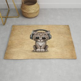 Cute Kitten Dj Wearing Headphones Rug
