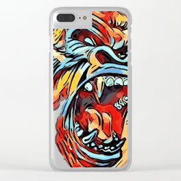 Funky Angry Gorilla in Primary Colors Clear iPhone Case