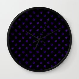 Indigo Violet on Black Snowflakes Wall Clock