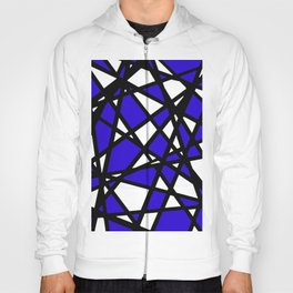 Black Lines Blue Accent And White Background Abstract Hoody