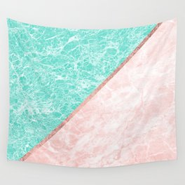Turquoise teal pink rose gold geometrical marble Wall Tapestry