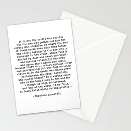 Man In The Arena Theodore Roosevelt Quote Stationery Cards