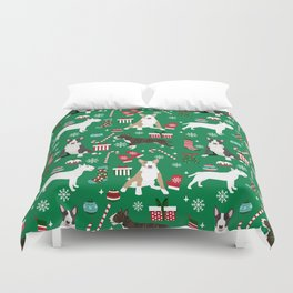 Bull Terrier christmas holiday pet pattern stockings presents dog breed gifts Duvet Cover