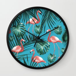 Tropical Flamingo Pattern #8 #tropical #decor #art #society6 Wall Clock