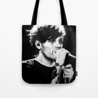 louis tomlinson Tote Bags featuring WWA Louis Tomlinson by crystaltaysm