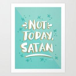 Not Today, Satan – Mint & Gold Palette Art Print