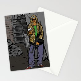 Gang member with gun Stationery Cards