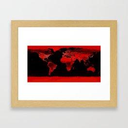 WORLD map : Red Framed Art Print