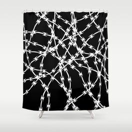 Trapped White on Black Shower Curtain