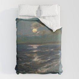 Twilight Moon coastal nautical landscape painting by Julius Olsson Comforters