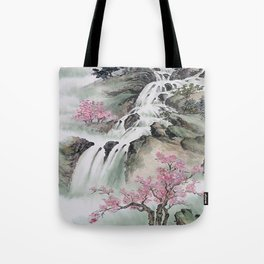 WATERFALLS AND MOUNTAIN LANDSCAPE Tote Bag