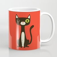 black cat Mugs featuring Black Cat by Monster Riot