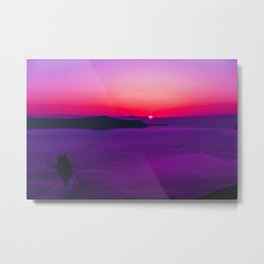 purple sunset in Fira Santorini Metal Print