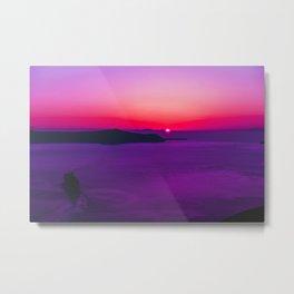 purple sunset in Fira Santorini Metal Print