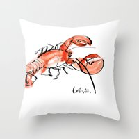 lobster Throw Pillows featuring Lobster  by Julie Song Ink