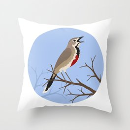 Rosy-patched Bush-shrike Throw Pillow