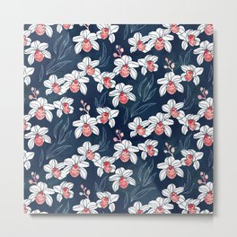 Orchid garden in white and peach on navy blue Metal Print