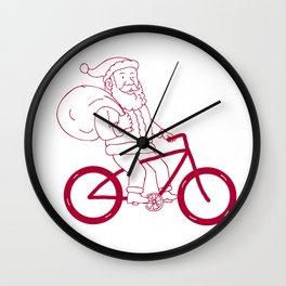 Santa Claus Riding Bicycle Side Cartoon Wall Clock