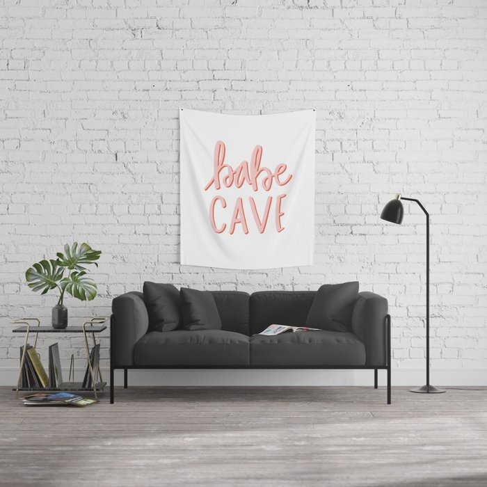 Babe Cave - hand lettered typography Wall Tapestry