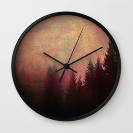 Repose, Abstract Landscape Trees Sky Wall Clock
