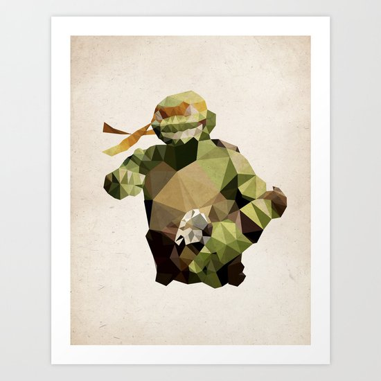 Polygon Heroes - Michelangelo Art Print