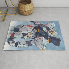 Nu Gundam watercolor Rug