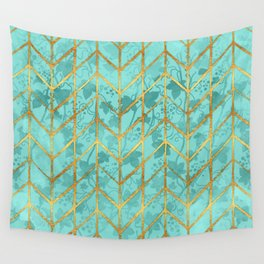 Gold Foil Herringbone on Tiffany Blue Ivy Watercolor Pattern Wall Tapestry