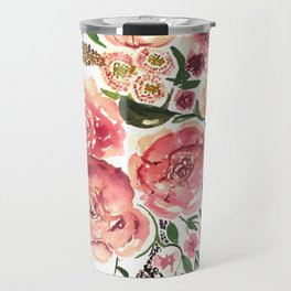 Peony Bouquet Floral Watercolor Illustration Travel Mug