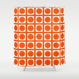 Vermillion Elegant Grid Dots Shower Curtain