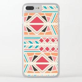 Tribal ethnic geometric pattern 025 Clear iPhone Case
