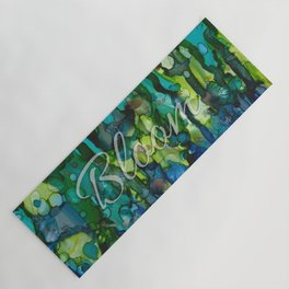 Bloom In Cool Blue Green Yoga Mat