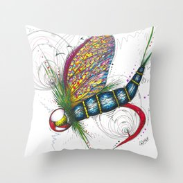 Mayfly Madness Throw Pillow