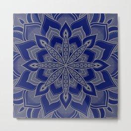 Blue Taupe Flower Mandala Metal Print