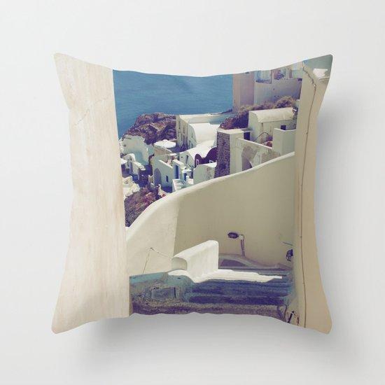 Santorini Stairs IV Throw Pillow