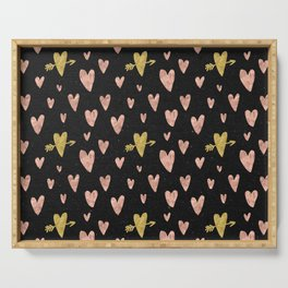 Rose Gold Hearts with Yellow Gold Hearts on Black Serving Tray