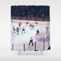 hockey Shower Curtains featuring Vintage Ice Hockey Match by BravuraMedia