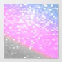 pixel Canvas Prints featuring Pink Lavender Gray Pixels by WhimsyRomance&Fun