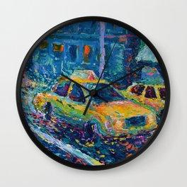Rainy Day in New York - Palette Knife urban art city landscape by Adriana Dziuba Wall Clock
