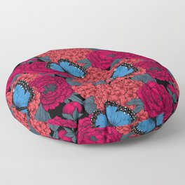 Blue morpho Floor Pillow