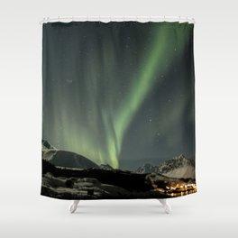 Northern Light Show Natural Fireworks Photo | Aurora Borealis Norway Art Print | Travel Photography Shower Curtain