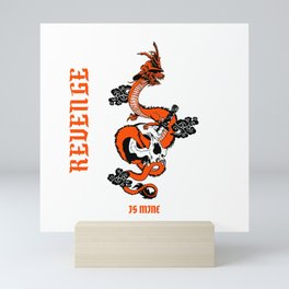 Orange Samurai Dragon Mini Art Print