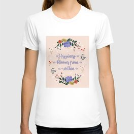 Happiness blooms from within- delicate pastel pattern T-shirt