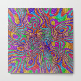 Psychedelic Rainbow Glitter Bomb Metal Print