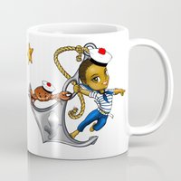 marine Mugs featuring Marine by Andre auguste-charlery
