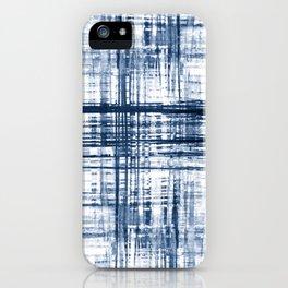 Blue shibori hand dyed pattern iPhone Case