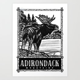 'ON THE LOOSE' Original Adirondack Decor, Moose Drawing, Mountains Wall Art Decor Art Print