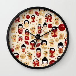 Japanese Dolls - Kokeshi and Maneki Neko Cats Wall Clock